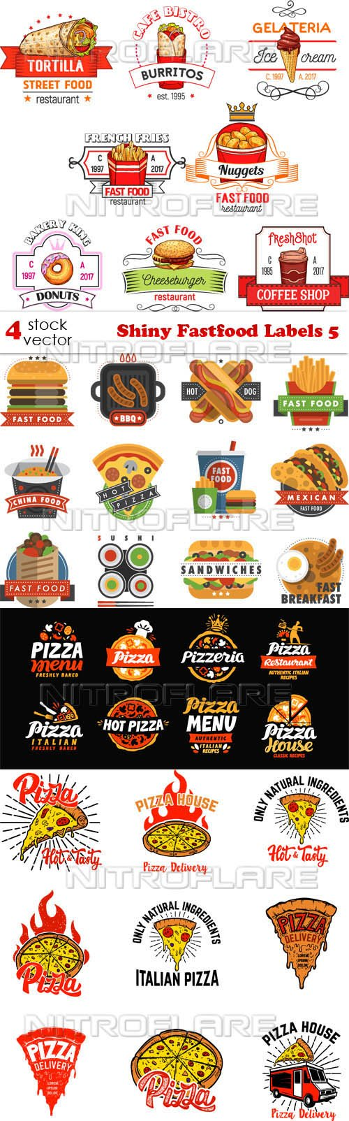 Vectors - Shiny Fastfood Labels 5