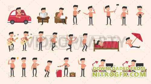 Male Character Pack - 24 Actions Motion Graphic