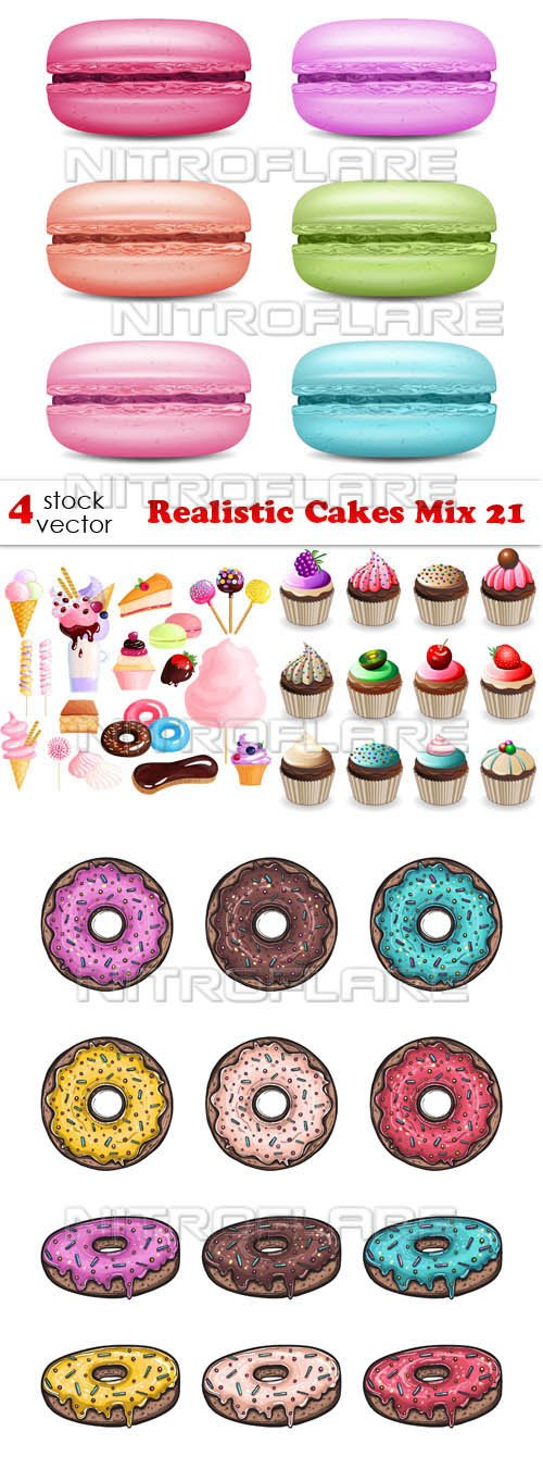 Vectors - Realistic Cakes Mix 21