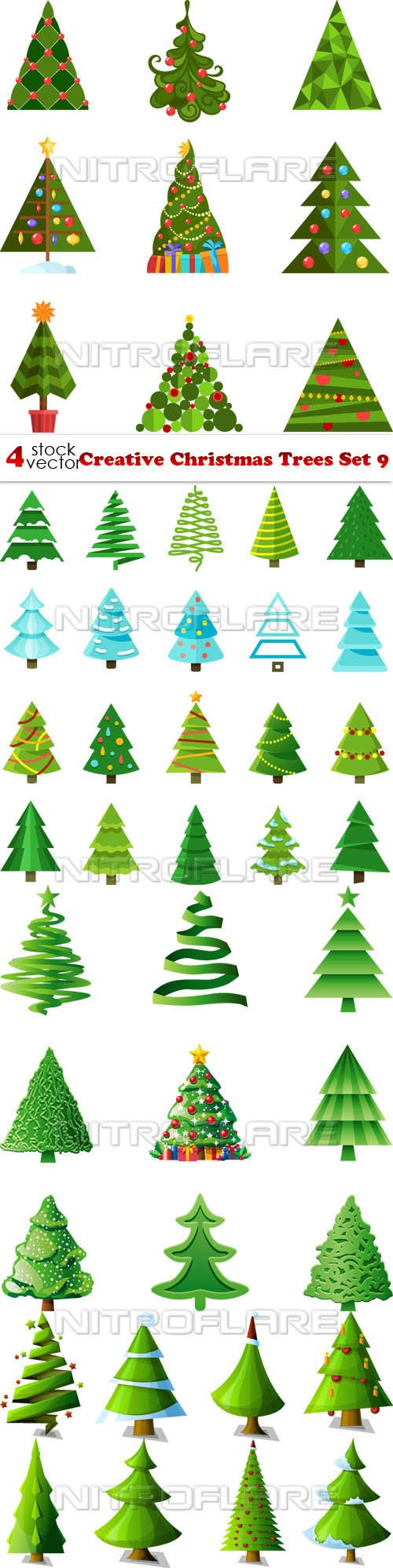 Vectors - Creative Christmas Trees Set 9