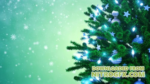 Footage - New Year tree with falling snowflakes