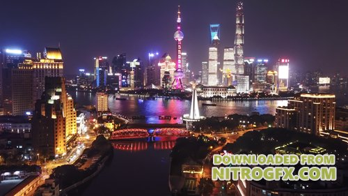 Footage - Aerial hyperlapse video of Shanghai at night