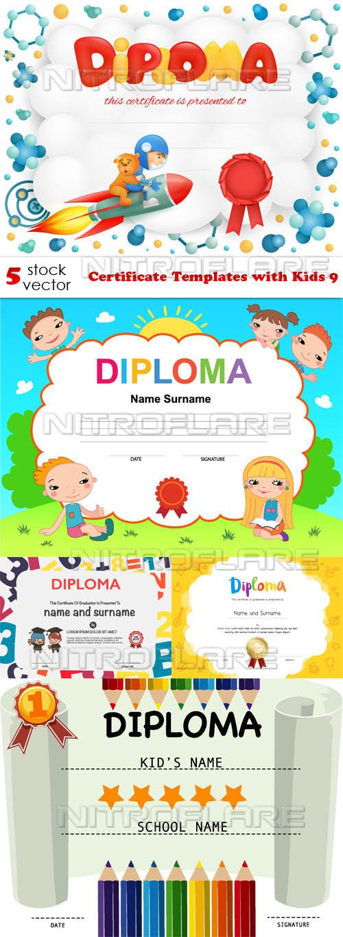 Vectors - Certificate Templates with Kids 9