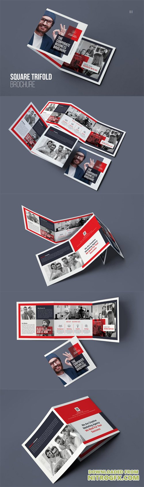 Square Trifold Brochure PSD