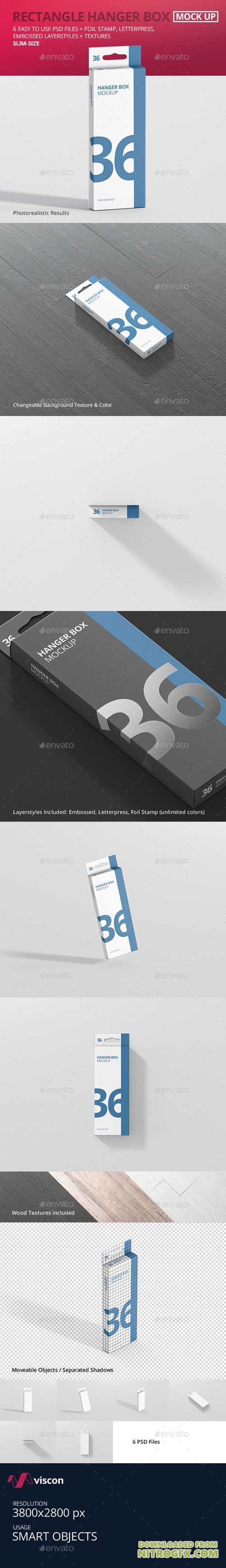 Box Mockup - Rectangle Slim High with Hanger 21019663