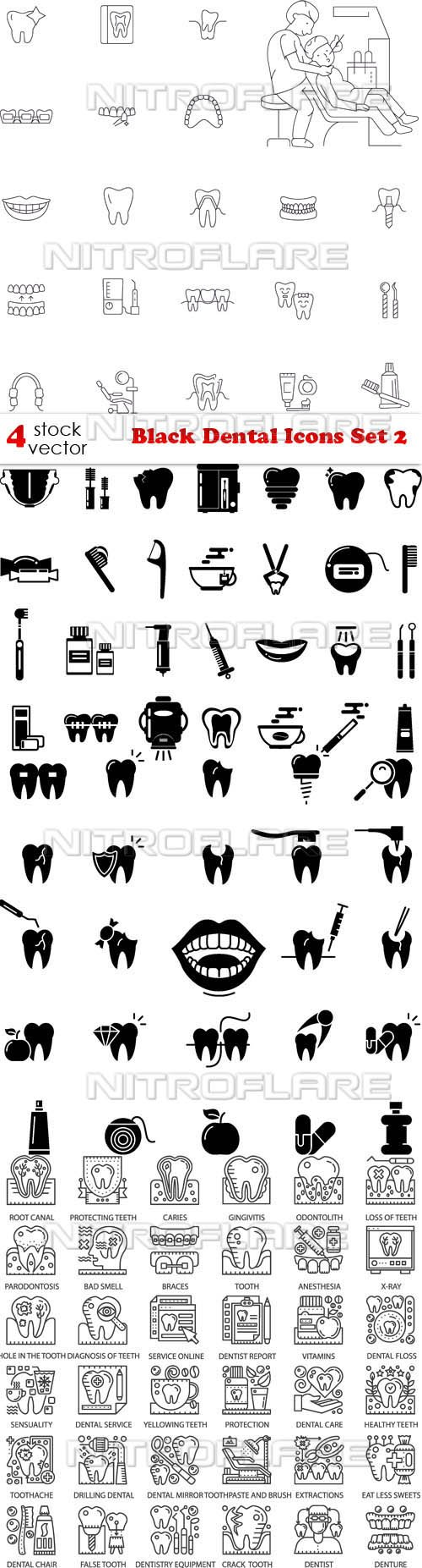 Vectors - Black Dental Icons Set 2