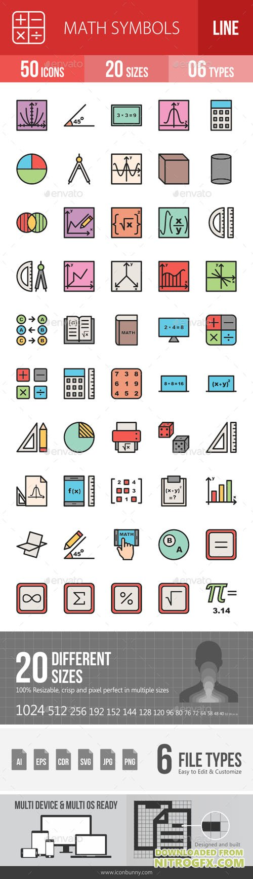 Math Symbols Line Filled Icons 19260184