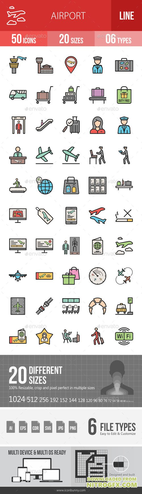 Airport Filled Line Icons 19294674