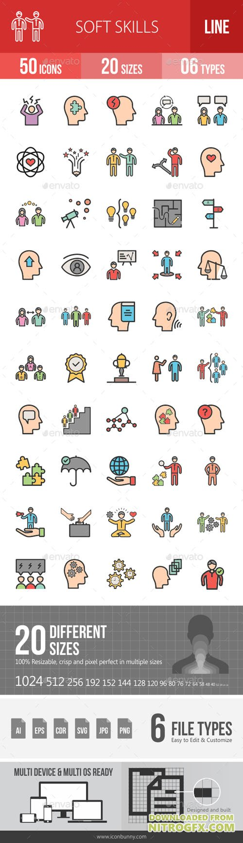 Soft Skills Filled Line Icons 19294635