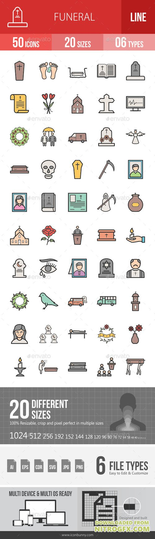 Funeral Filled Line Icons 19438309