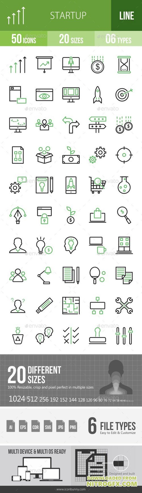 Startup Line Green & Black Icons 16847634