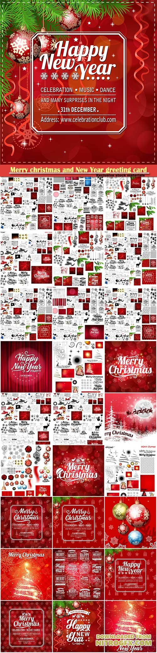 Merry christmas and New Year greeting vector decorations