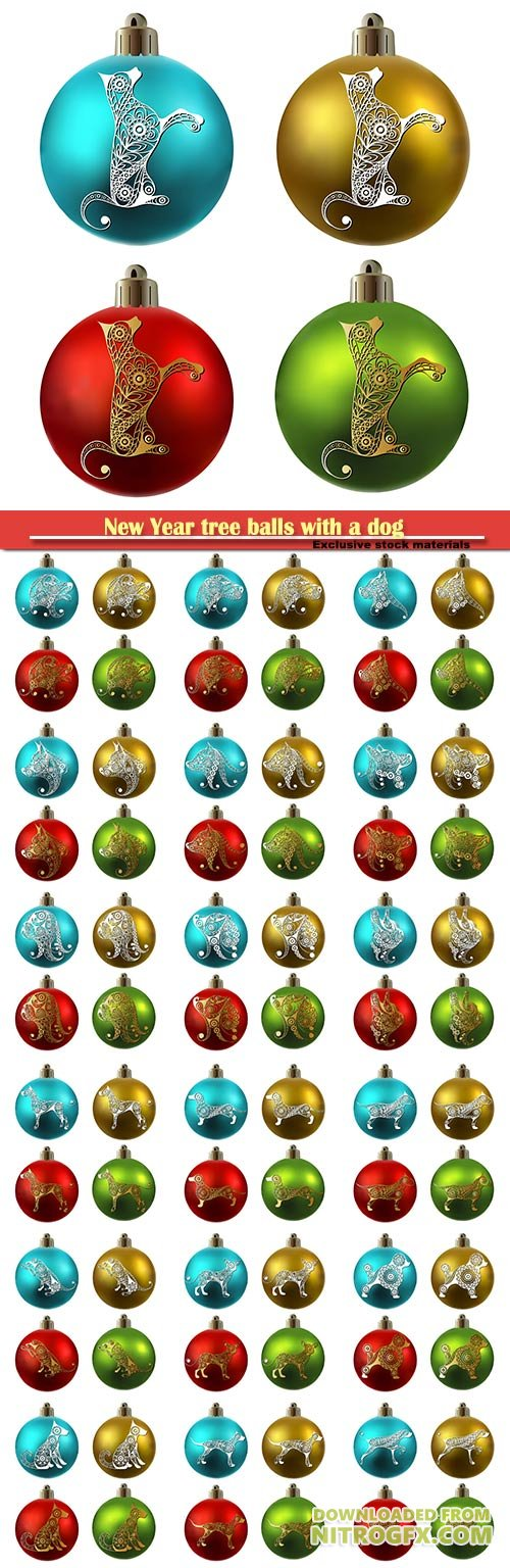 New Year tree balls with a dog symbol of 2018