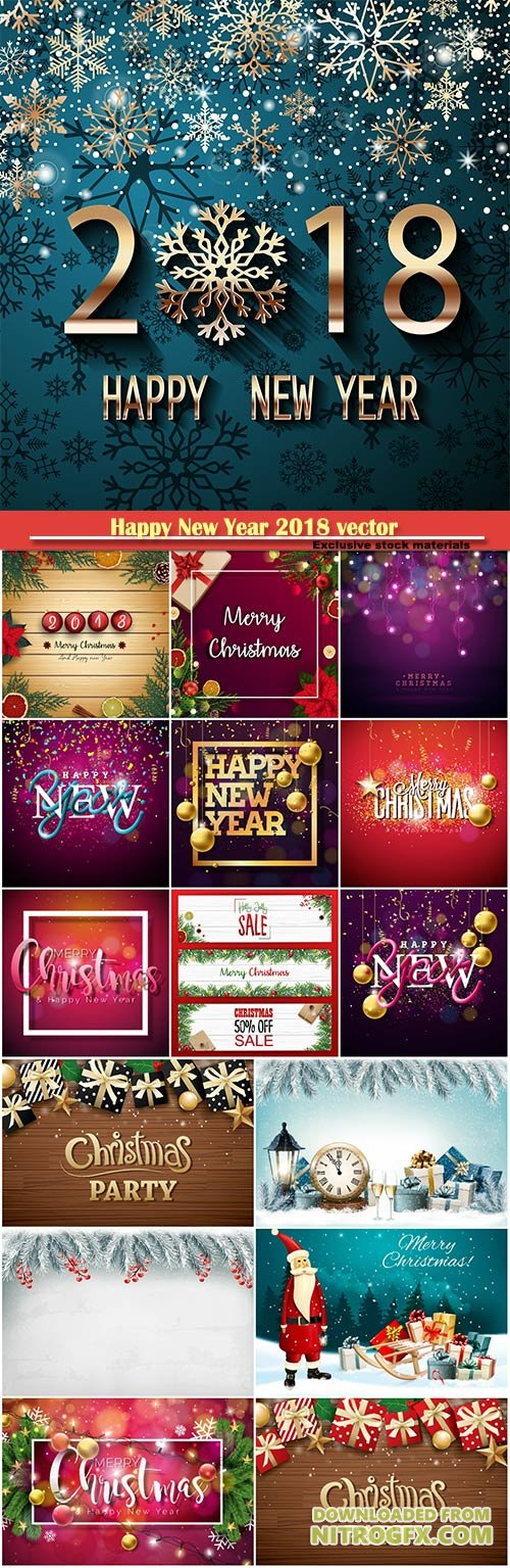 Happy New Year 2018 vector greeting illustration with golden snowflake and decorations