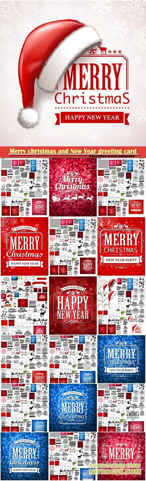 Merry christmas and New Year greeting vector decorations and card