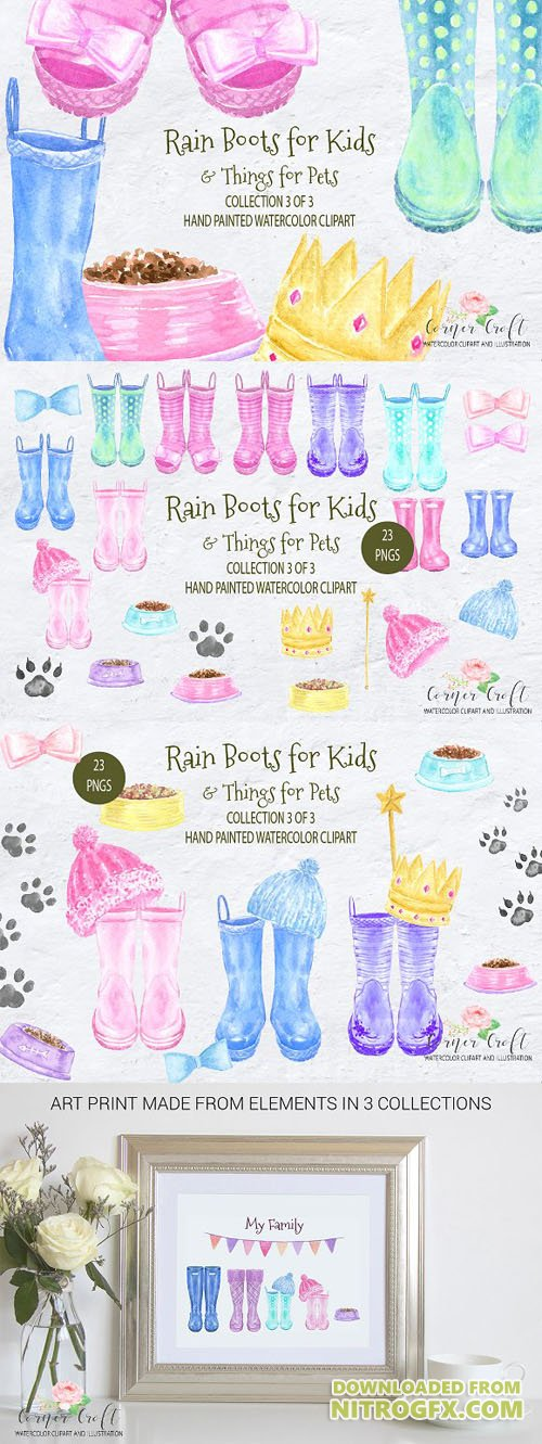 Watercolor Rain Boots for Kids