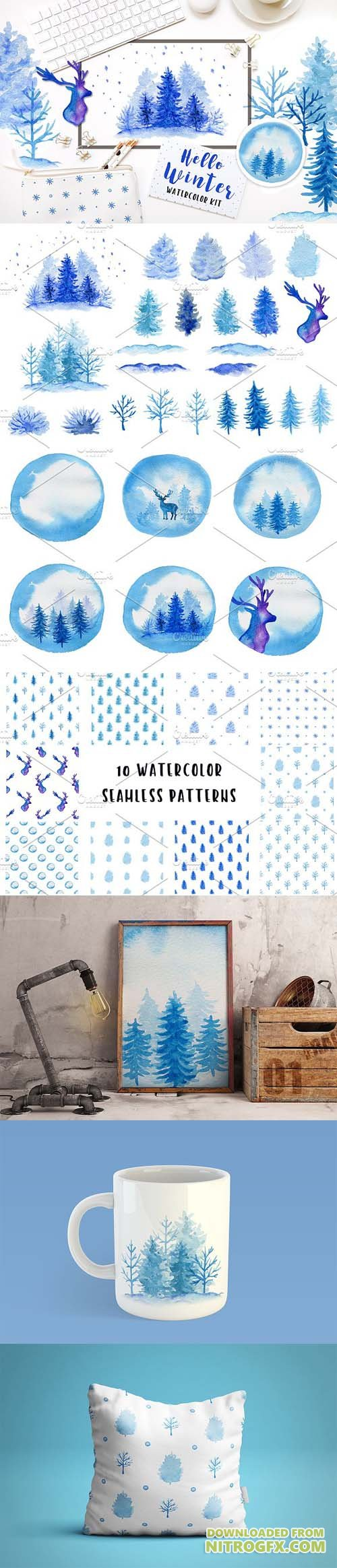 Winter watercolor design kit 2103090