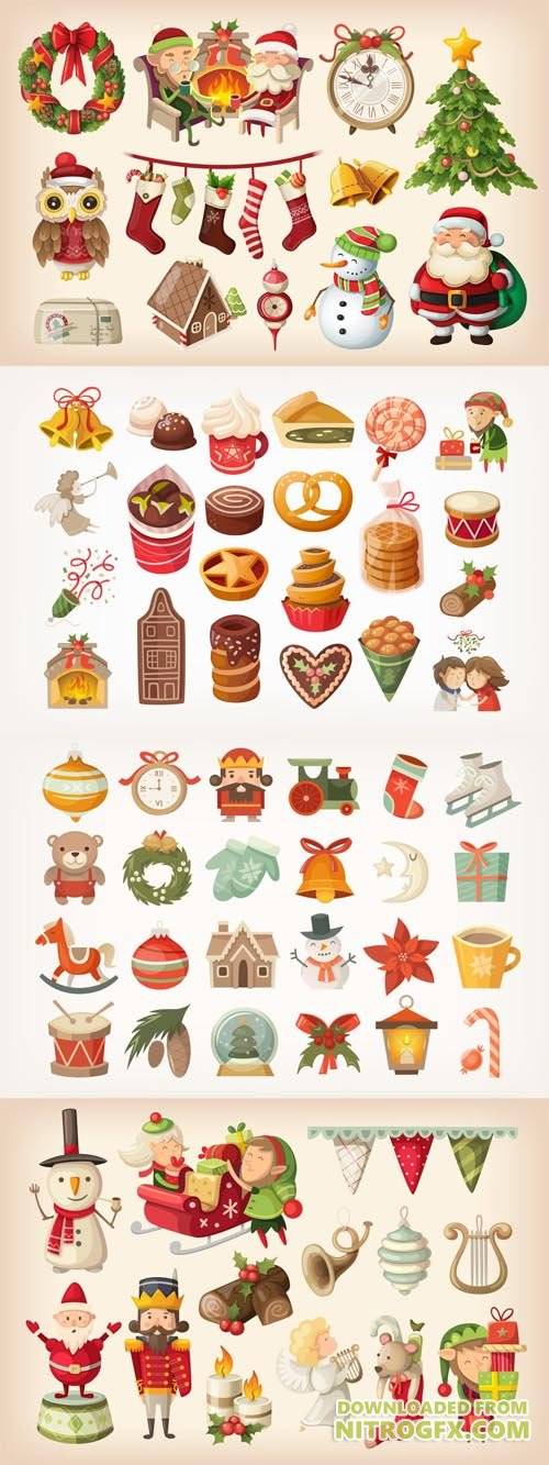 Set of colorful Christmas items