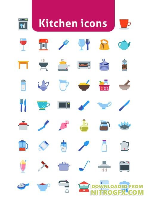 50 EPS, PNG, SVG Vector Web Icons - Kitchen Icons