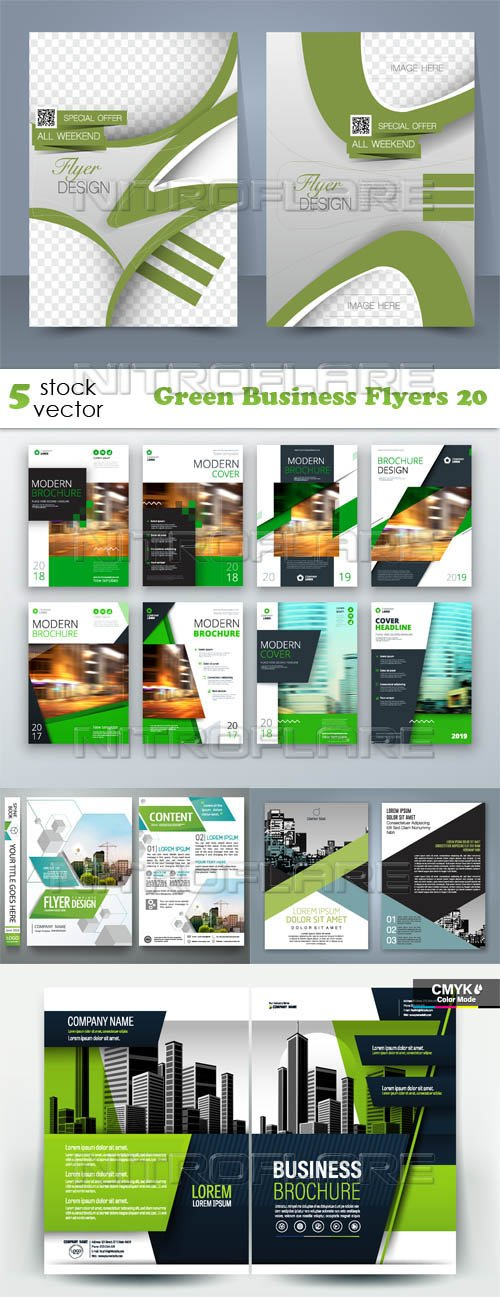 Vectors - Green Business Flyers 20