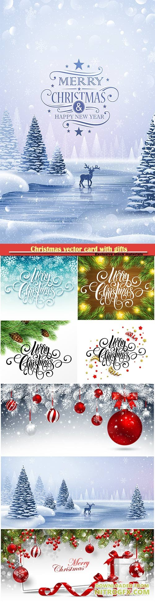 Christmas vector card with gifts and fir branches on sparkling background