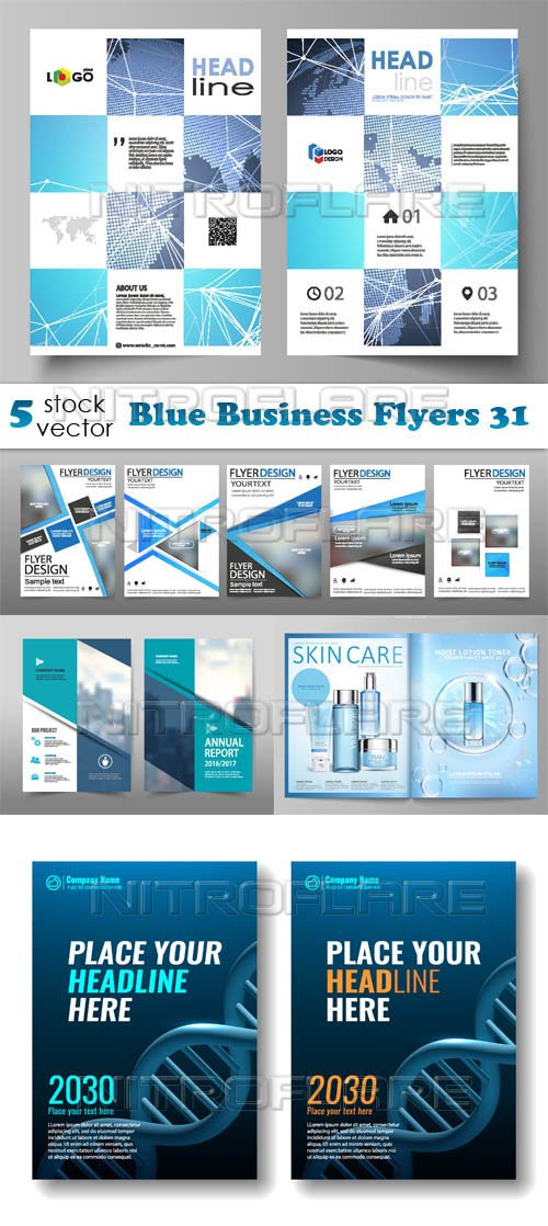 Vectors - Blue Business Flyers 31