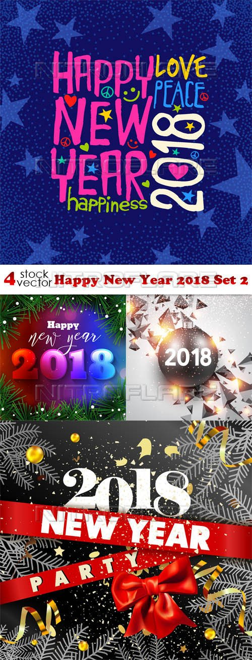 Vectors - Happy New Year 2018 Set 2