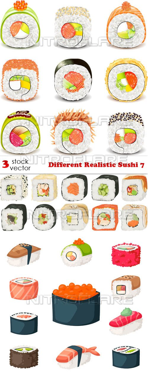 Vectors - Different Realistic Sushi 7