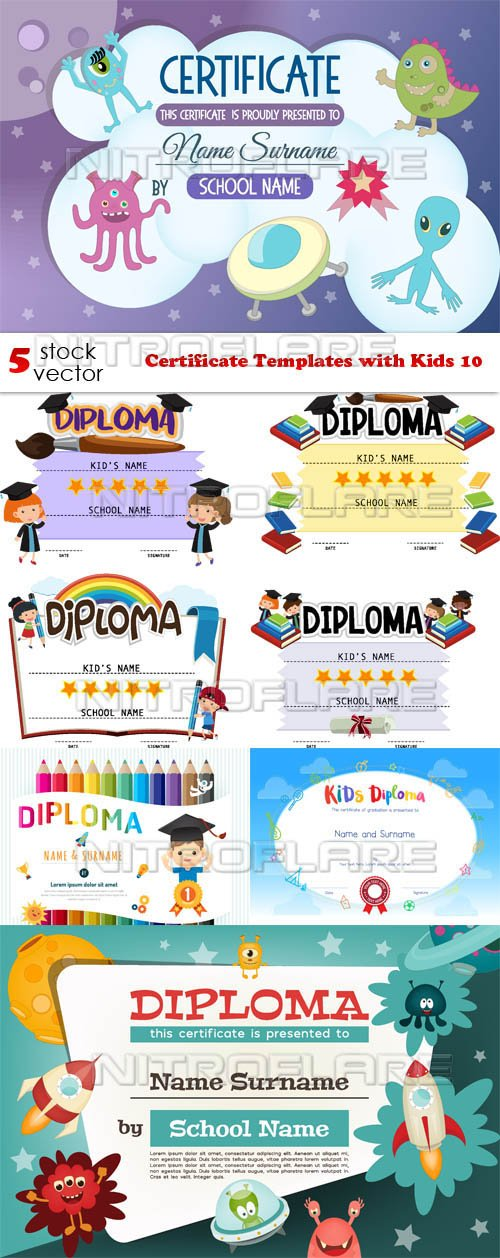 Vectors - Certificate Templates with Kids 10