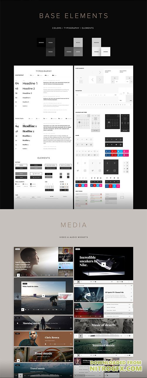 Squixe UI Kit - Modern & Minimalistic UI Kit for Photoshop & Sketch