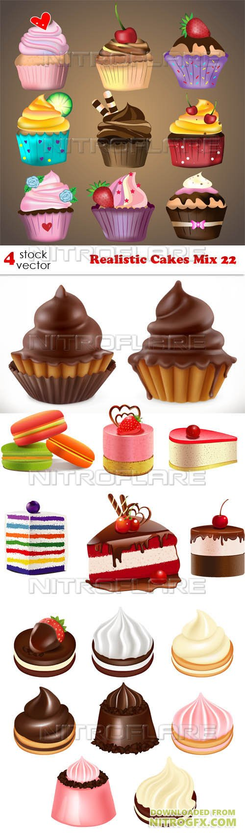Vectors - Realistic Cakes Mix 22