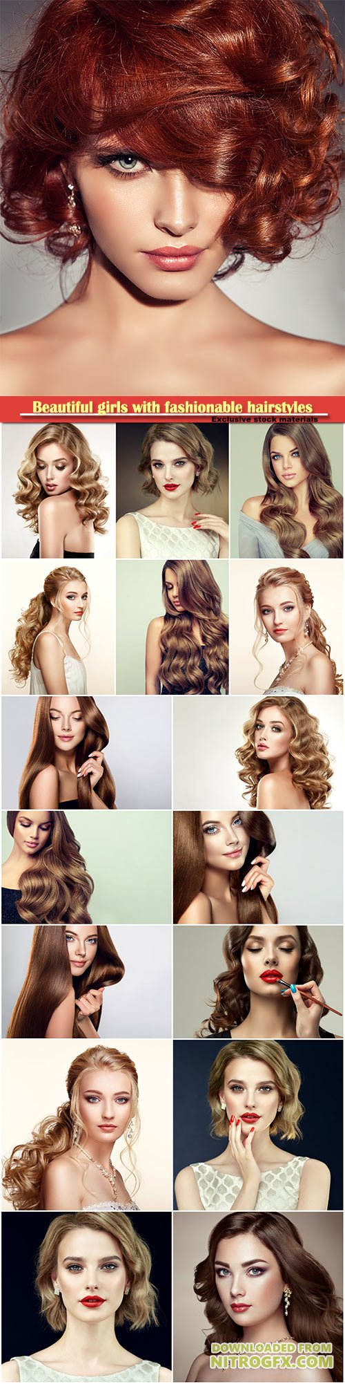 Beautiful girls with fashionable hairstyles and stylish make-up