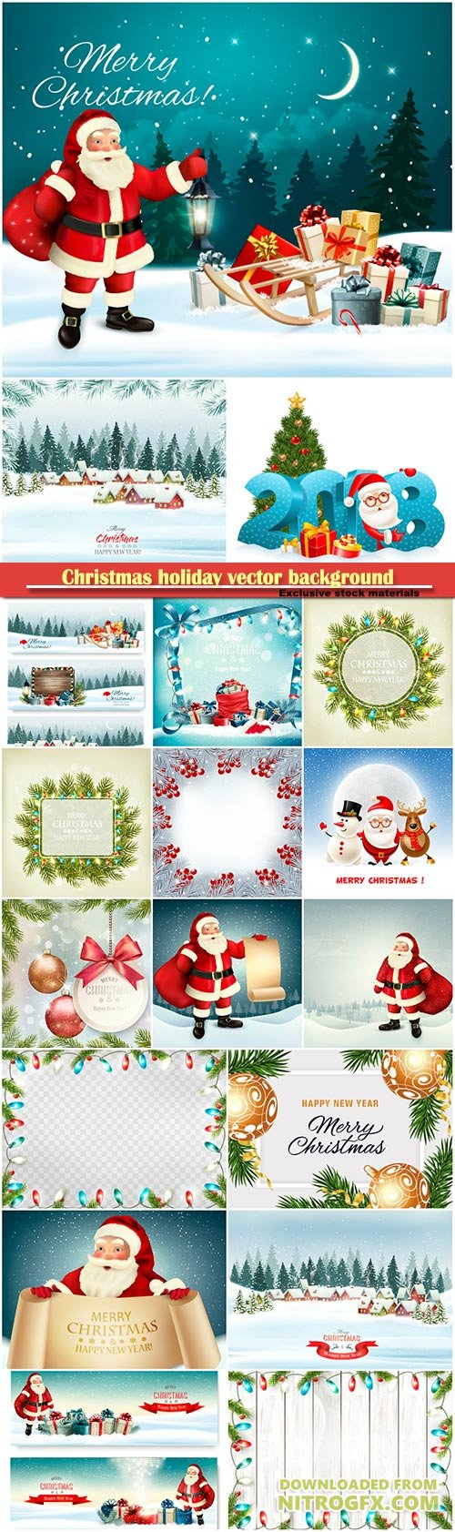 Christmas holiday vector background with Santa Claus and branches of tree and a colorful balls