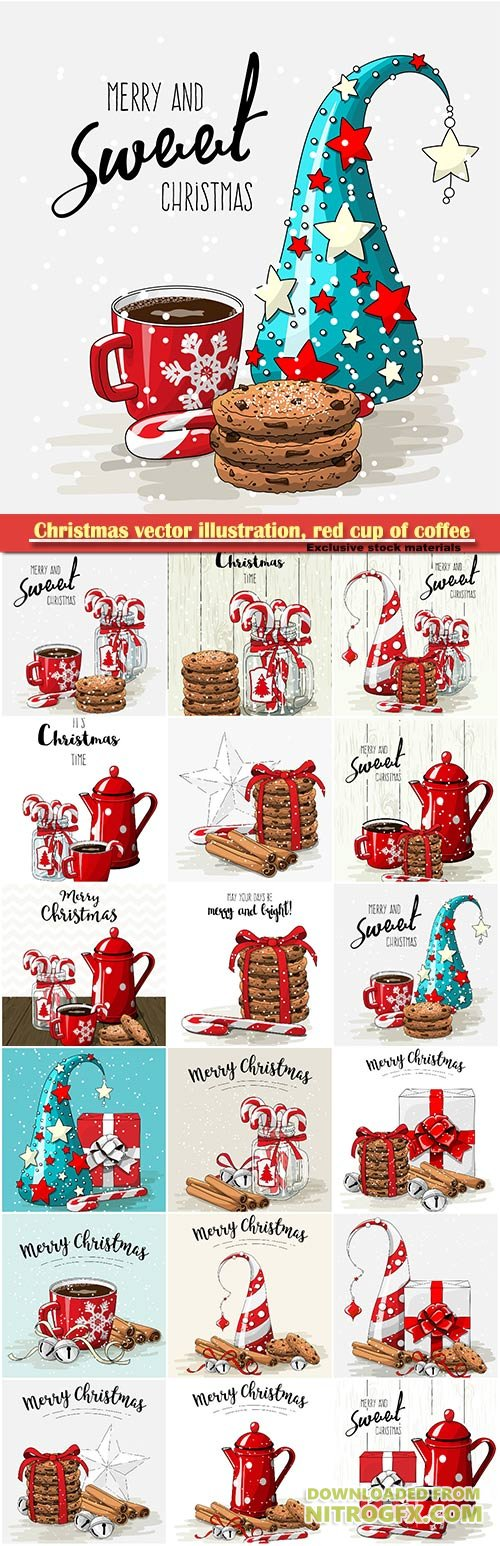 Christmas vector illustration, red cup of coffee with red ribbon, stack of cookies and candy canes in glass jar