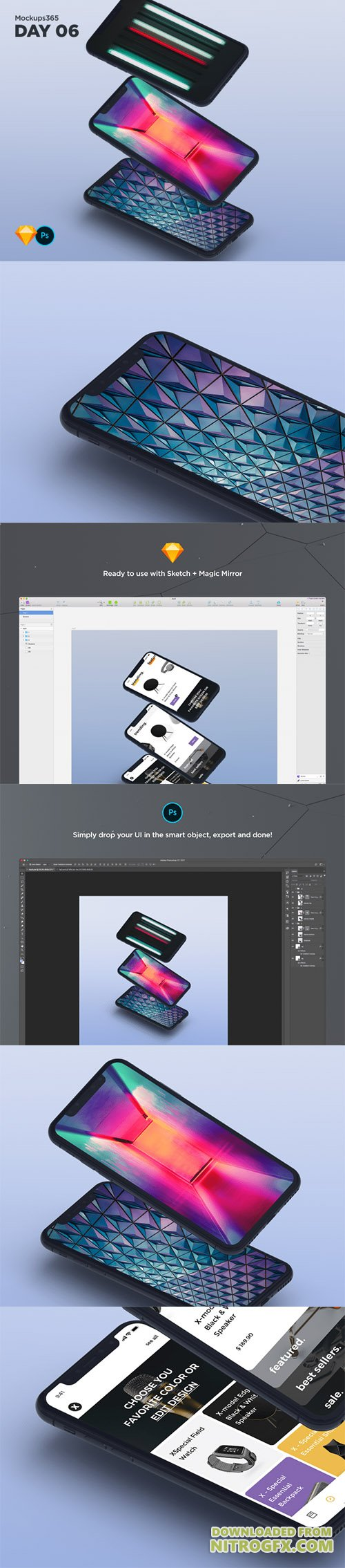 Mockups365: Day 6 - iPhone X cascading mockups for Sketch & Photoshop 4K