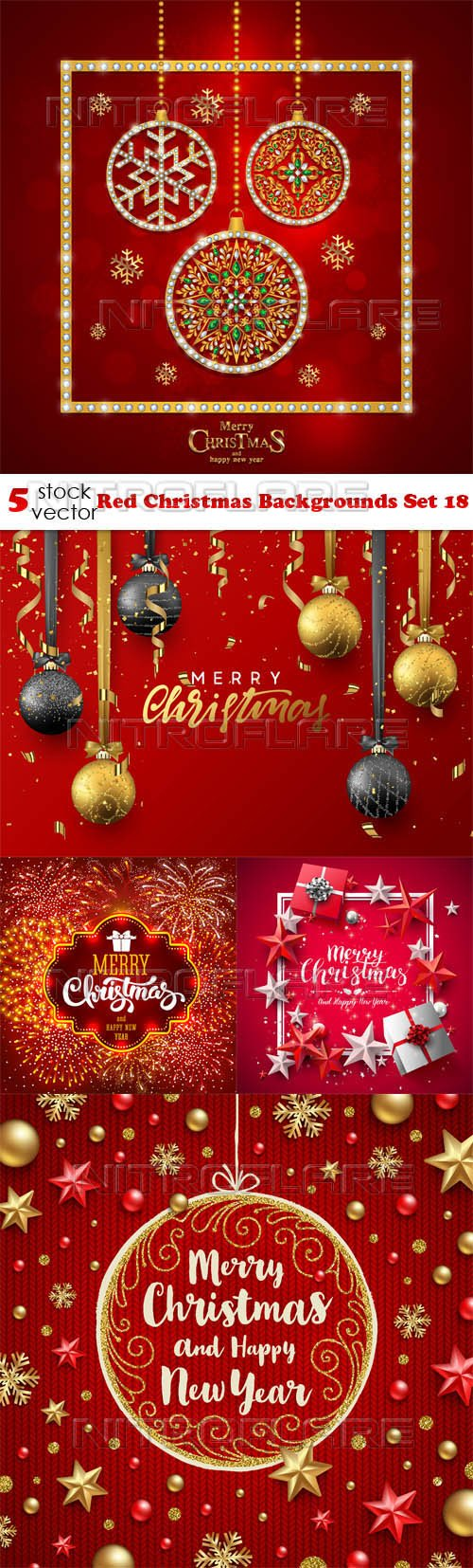 Vectors - Red Christmas Backgrounds Set 18