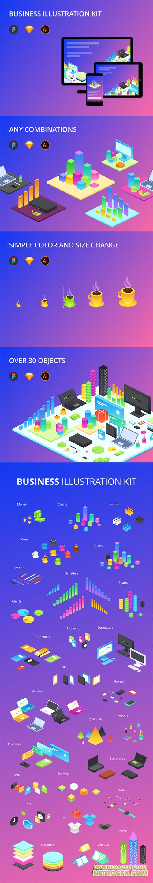 Business Illustration kit - 30 Object Business Illustration kit