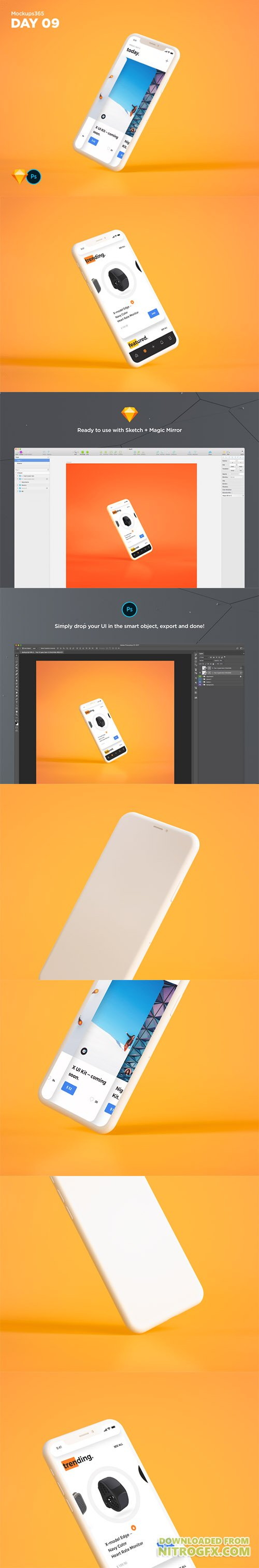 Mockups365: Day 9 - 2 White iPhone X angled mockups for Sketch & Photoshop