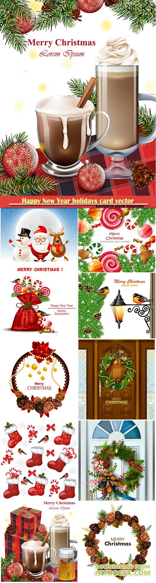 Happy New Year holidays card vector background