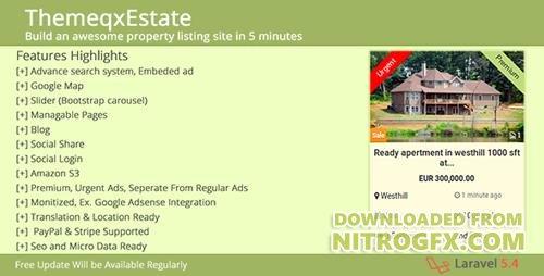 Image Result For Codecanyon Themeqxestate V Laravel Real Estate Property Listing Portal
