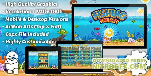 CodeCanyon - Fishing Frenzy v1.0 - HTML5 Game, Mobile Version+AdMob!!! (Construct-2 CAPX) - 16760633