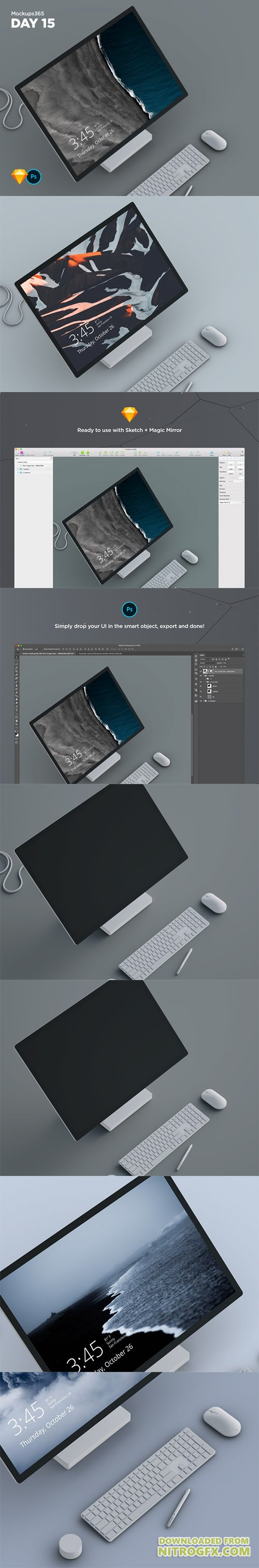 Mockups365: Day 15 - Microsoft Surface Studio mockup for Sketch & Photoshop 4K