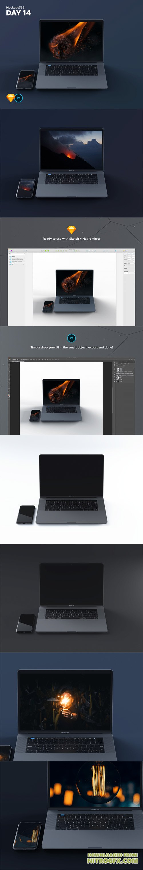 Mockups365: Day 14 - Macbook & iPhone X mockups for Sketch & Photoshop 4K