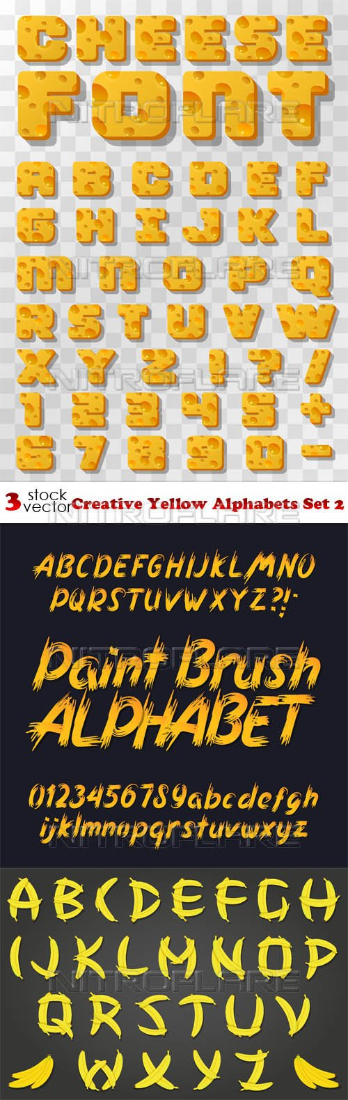 Vectors - Creative Yellow Alphabets Set 2