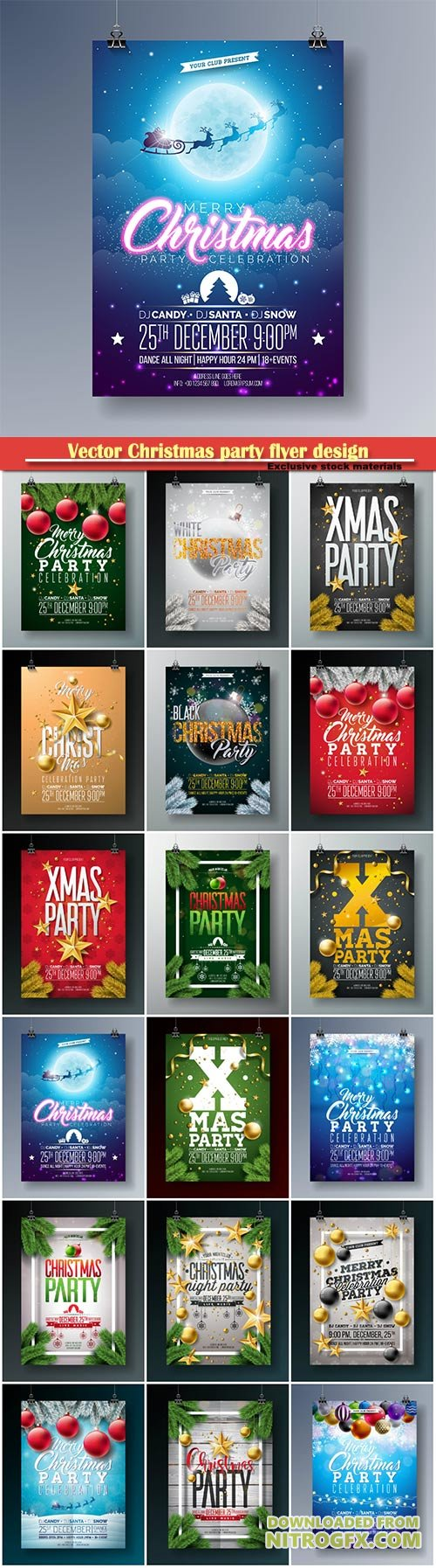 Vector Christmas party flyer design, holiday typography elements