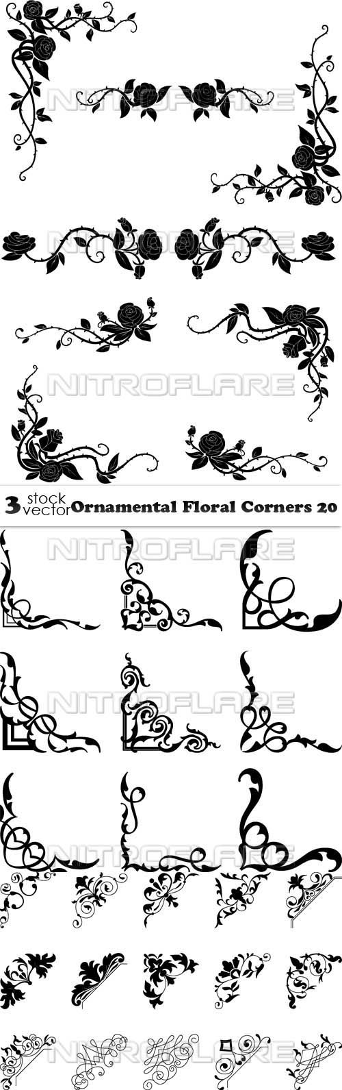 Vectors - Ornamental Floral Corners 20
