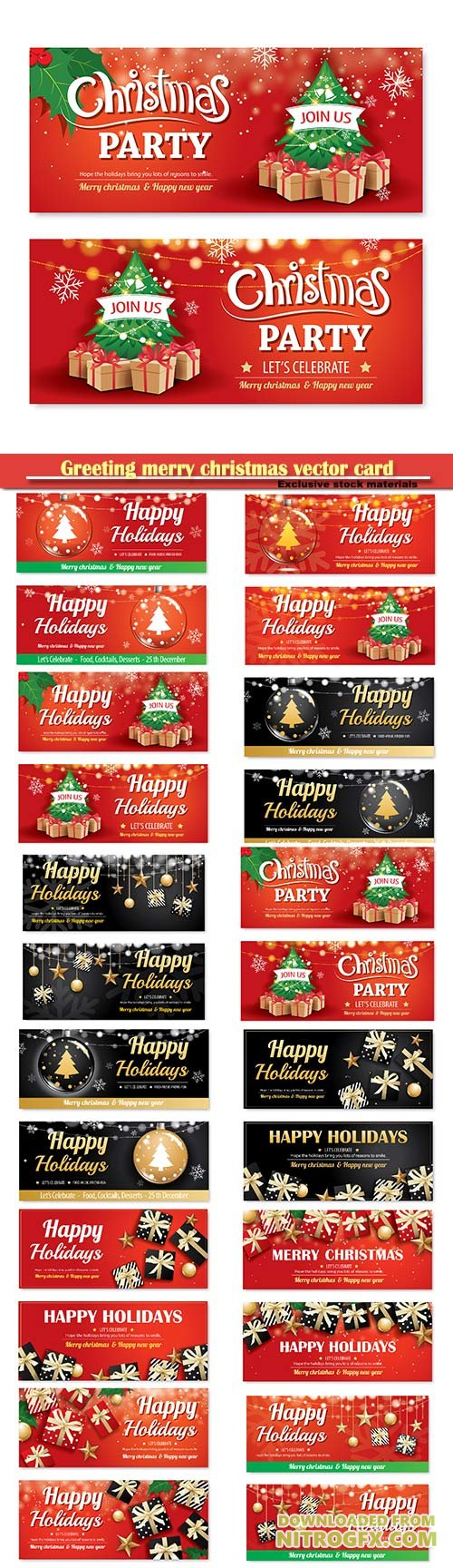 Greeting merry christmas vector card, party poster banner design template, happy holiday and new year