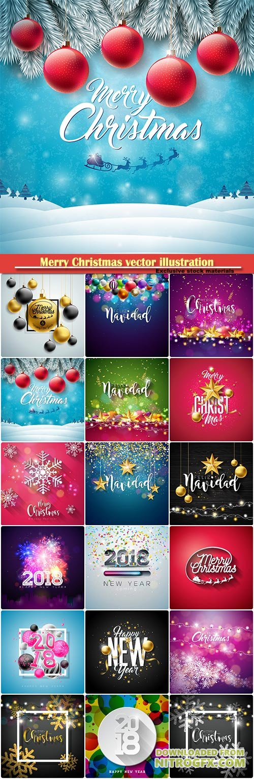 Merry Christmas vector illustration with decoration, holidays flyer