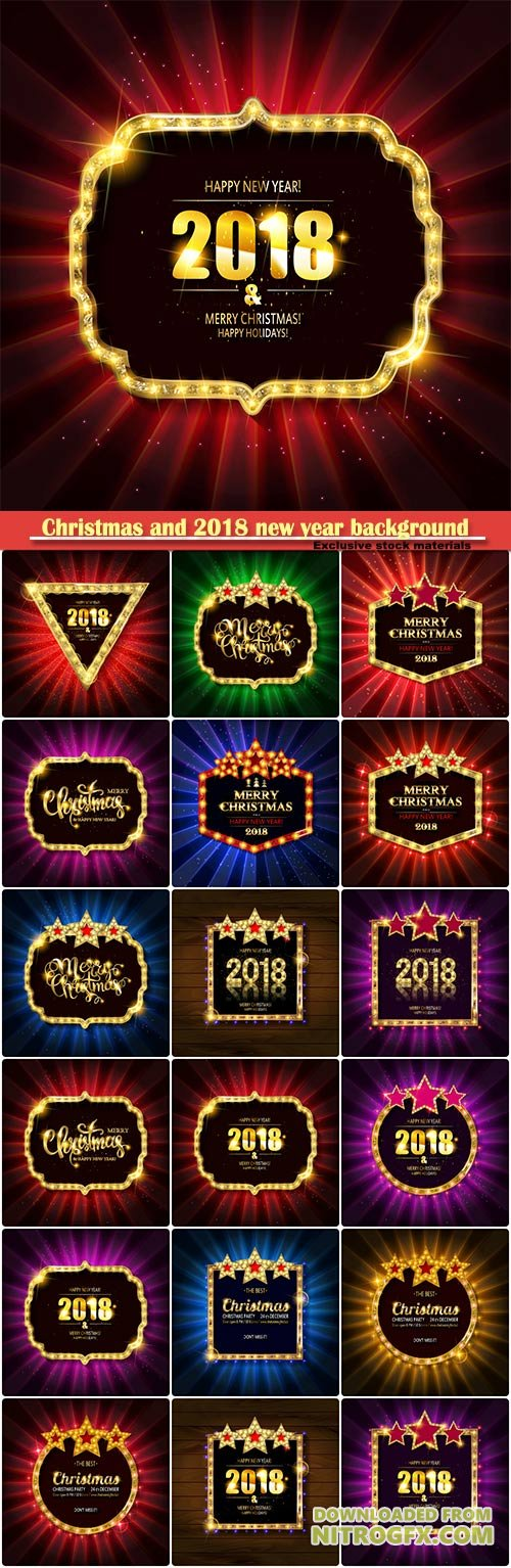 Christmas and 2018 new year background for design for banners, flyers, Invitations, cards