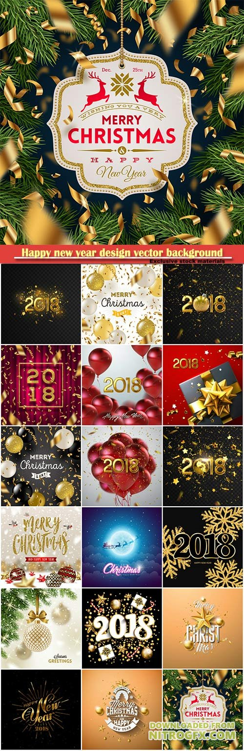 Happy new year design vector background with 2018